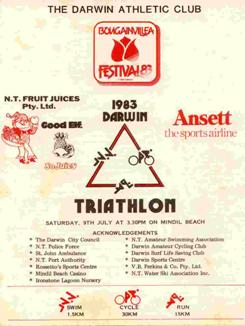 The entry form for the second triathlon held at Mindil Beach on 9 July 1983. This was the first triathlon organised by the Dawin Athletic Club.